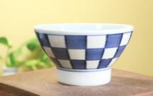 砥部焼◆くらわんか茶碗(小)■市松
