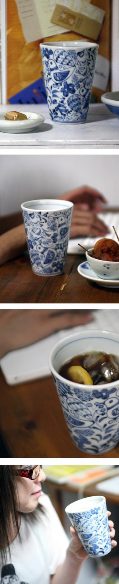 陽貴窯,径約9.5cm×高約12.5cm,磁器