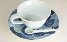 砥部焼◆キウイ柄のカップ&ソーサ* 青