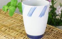 砥部焼◆大き目フリーカップ*斜線
