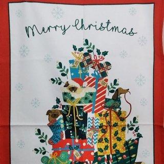 ティータオル「UlsterWeavers・HOUND DOG CHRISTMAS(犬のクリスマス) 」