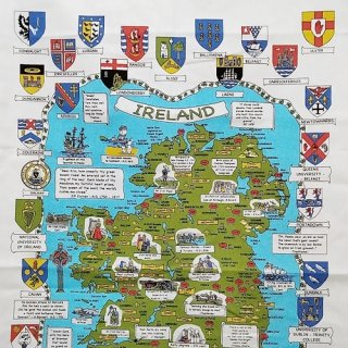 ティータオル「UlsterWeavers・MAP & CRESTS OF IRELAND(アイルランドの地図と紋章)」
