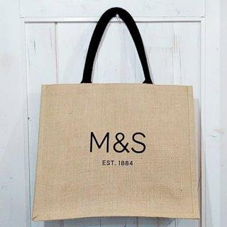 M&S「Jute Bag (シンプル黒いロゴ)」
