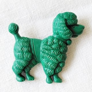 英国acorn & will「harald poodle dog brooch」プードル・グリーン