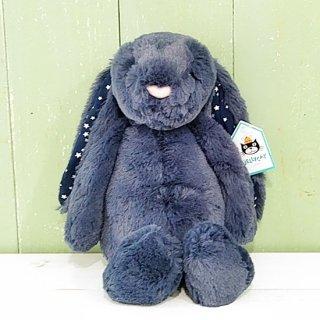 Jellycat「Bashful Stardust Bunny M」(バシュフルバニー・スターダスト・Mサイズ)ネイビーに星柄