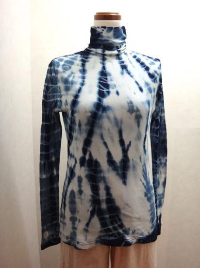 藍染 柳絞り 綿シフォンハイネックカットソー(倉敷の本藍染)