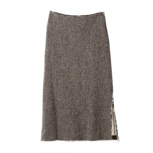 [SALE] SEA Wool Herringbone Twill Tweeds Long Skirt with Real Coin Concho