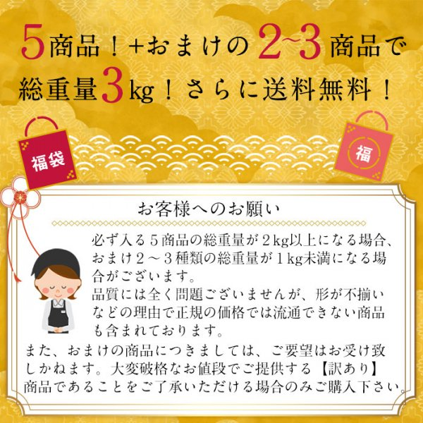 <img class='new_mark_img1' src='https://img.shop-pro.jp/img/new/icons29.gif' style='border:none;display:inline;margin:0px;padding:0px;width:auto;' />メガ盛りはしっこ訳あり福袋 7種類 3kg 送料無料