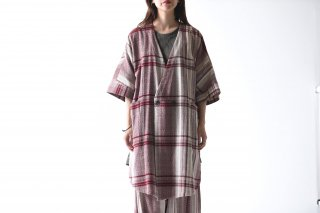 YANTOR Amunzen Check Haori Coat wine