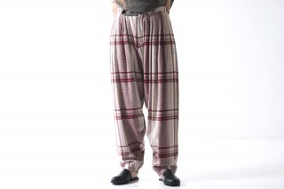 YANTOR Amunzen Check 6tuck Pants wine