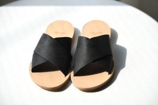 FAUVEL  flat cross sandal  black