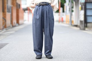 house of the very island's 定番ルーズカットタックトラウザー gray
