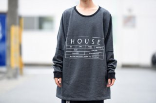 house of the very island's ルーズシルエットロゴカットソー charcoal gray