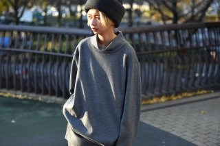BISHOOL boiled wool high neck long pullover gray