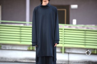 BISHOOL boiled wool high neck long pullover  charcoal