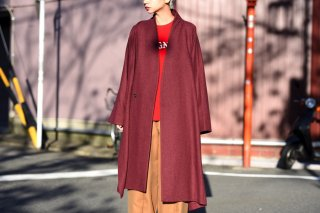 YANTOR Boucle Miled Wool Slit Coat wine red