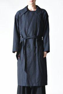 YANTOR Slab Linen Wool Long Coat  dark navy