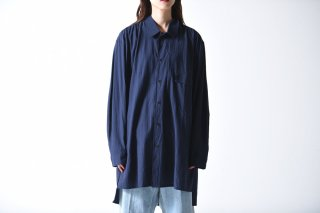 ESSAY GATHER SHIRT navy