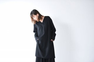 BISHOOL wool gabardine V neck long pullover