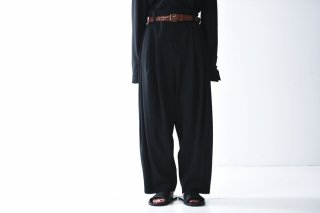 BISHOOL wool gabardine 10 tuck pants