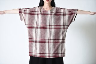 YANTOR Amunzen Check Long Pullover wine