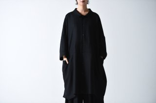 BISHOOL wool gauze big shirt black