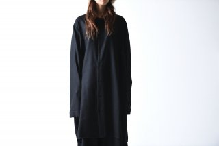 BISHOOL wool gauze long shirt coat black