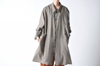 BISHOOL wool gauze long shirt coat beige