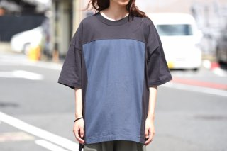 My Beautiful Landlet  スクエア切替カットソー charcoal × navy