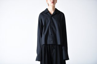 BISHOOL Cotton Broad Double Cuffs Short Shirts black