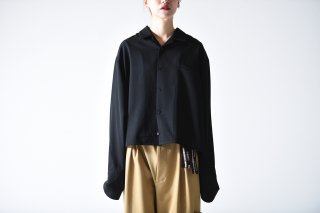 BISHOOL Wool Gabardine Double Cuffs Short Shirts black