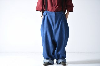 My Beautiful Landlet デニムビッグパンツ denim blue
