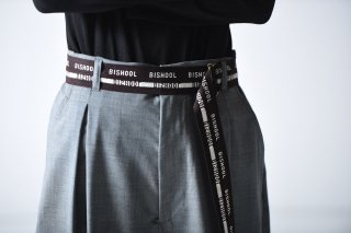 BISHOOL Wool Gabardine BISHOOL Belt dark brown