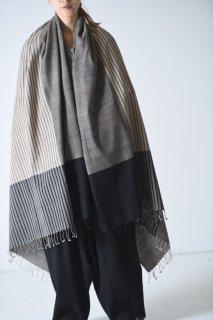 YANTOR  Stripe Khadi Cotton Stole beige