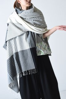 YANTOR  Stripe Khadi Cotton Stole white