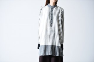 YANTOR Stripe Khadi Cotton Merge Shirts white