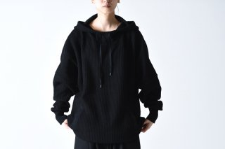 YANTOR Cotton Coarsely Knit Hoody black