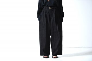 tac:tac 3 TUCKS SUEDE WIDE PANTS black