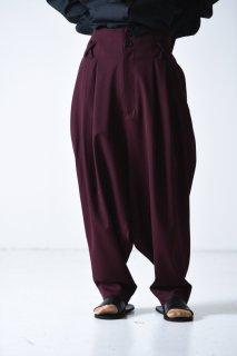 BISHOOL  Wool Gabardine Japanese Lantern Pants wine