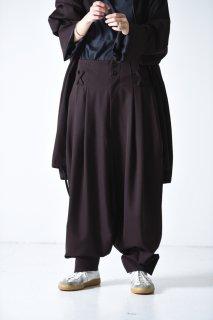 BISHOOL  Wool Gabardine Japanese Lantern Pants brown