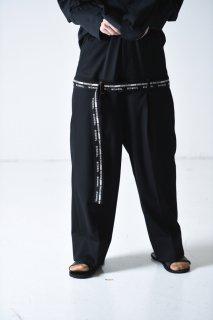 BISHOOL  Wool Gabardine Double Waist Slacks black