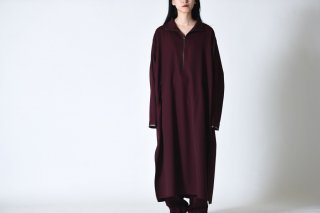 BISHOOL wool gabardine halfzip long pullover wine