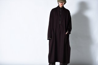 BISHOOL wool gabardine halfzip long pullover brown