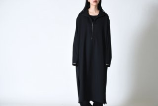 BISHOOL Wool Gabardine Half Zip Long Pullover black