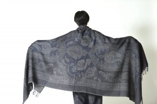 YANTOR  Paisley Jaquard Stole navy