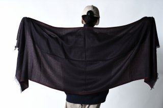 YANTOR  DoubleFace Wool Handwoven Stole black×red