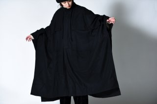 tac:tac WOOL FLANNEL STAND COLLAR PONCHO COAT