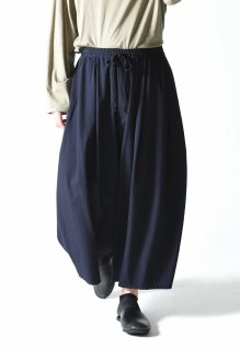 BISHOOL Wool Gabardine 3 Tuck Big Pants dark navy