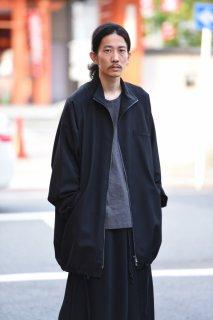 BISHOOL Wool Gabardine 90 Zip Coat black