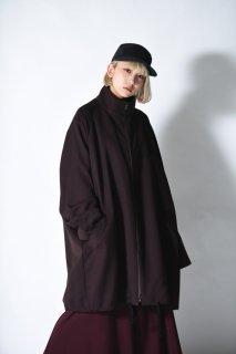 BISHOOL Wool Gabardine 90 Zip Coat brown